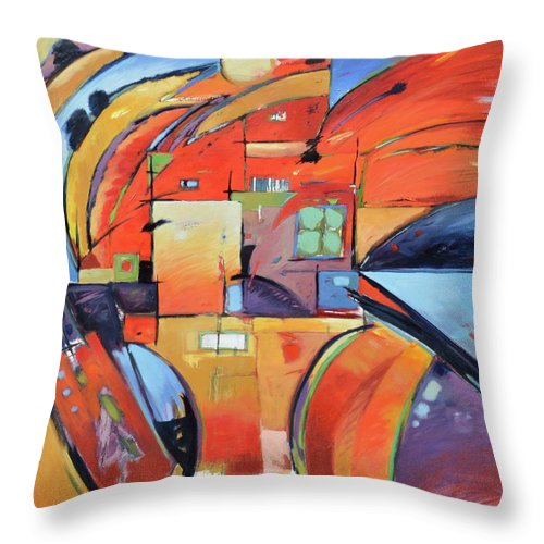 Abstract Throw Pillow featuring the painting Swaying 2 by Gary Coleman