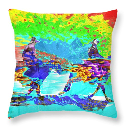 Sweating Throw Pillow featuring the digital art Sweating Fire by Seth Weaver