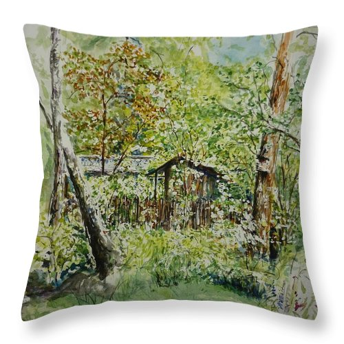 Trees Throw Pillow featuring the painting Sweden Landscape 1 by Lizzy Forrester