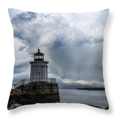 Maine Throw Pillow featuring the photograph Sweeping Clouds Over Bug Light by Joe Faragalli