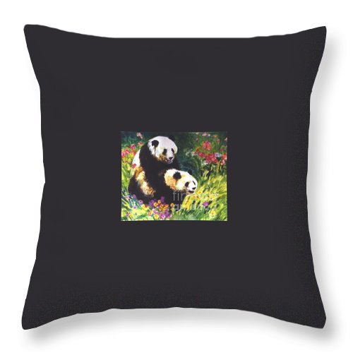 Panda Throw Pillow featuring the painting Sweet As Honey by Guanyu Shi