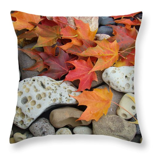 Art Throw Pillow featuring the photograph Sweet Autumn 1 Autumn Leaves Rock Designs Photography Digital Art Prints by Baslee Troutman