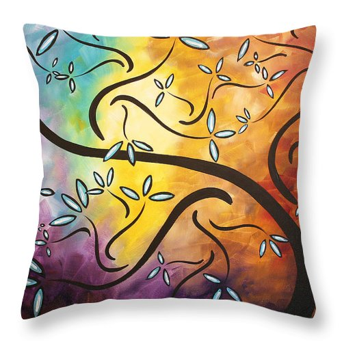Abstract Throw Pillow featuring the painting Sweet Blossom By Madart by Megan Duncanson