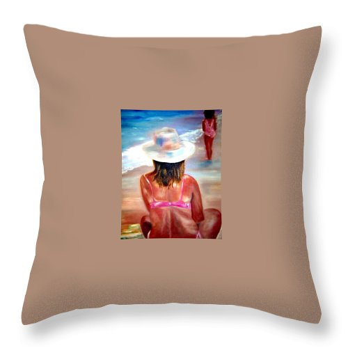 Beach Throw Pillow featuring the painting Sweet Child Of Mine by Sandy Ryan