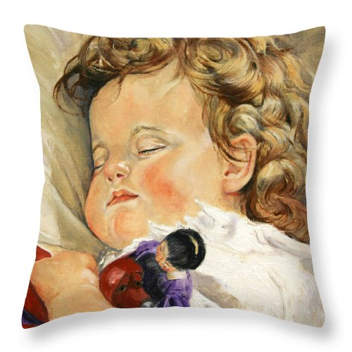 Children Portraits Throw Pillow featuring the painting Sweet Dreams by Enzie Shahmiri