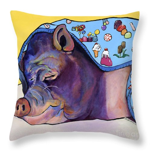 Farm Animal Throw Pillow featuring the painting Sweet Dreams by Pat Saunders-White