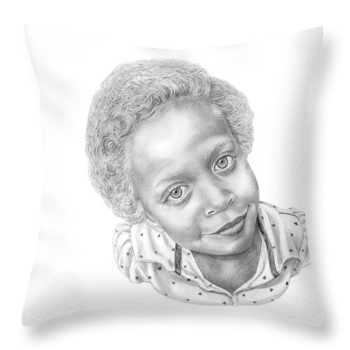 Portrait Throw Pillow featuring the drawing Sweet Eyes by Murphy Elliott