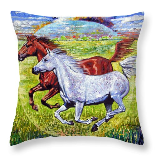 Horses Running Throw Pillow featuring the painting Sweet Harmony by John Lautermilch