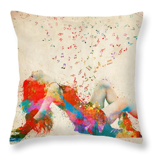 Song Throw Pillow featuring the digital art Sweet Jenny Bursting with Music by Nikki Smith