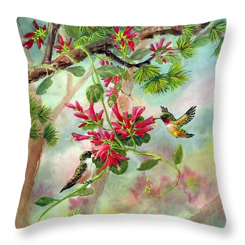 Hummingbirds Throw Pillow featuring the painting Sweet Journey by Eileen Fong
