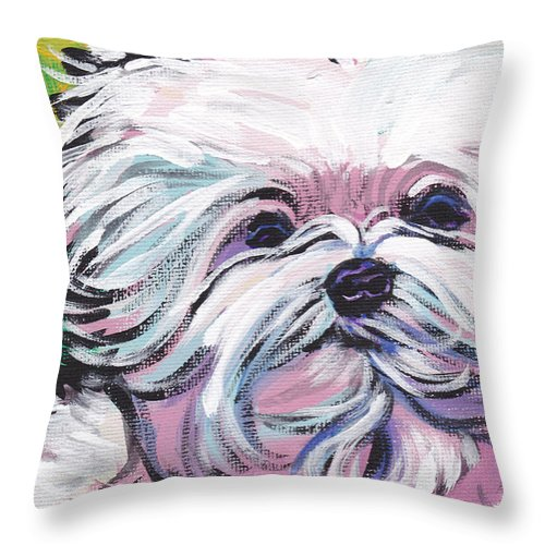 Maltese Throw Pillow featuring the painting Sweet Maltese by Lea S