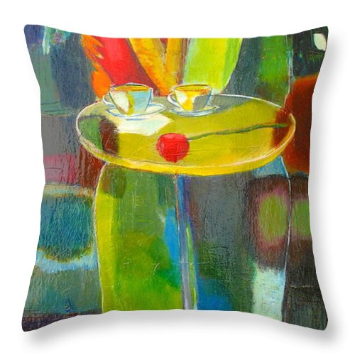 Love Throw Pillow featuring the painting Sweet Moment by Habib Ayat