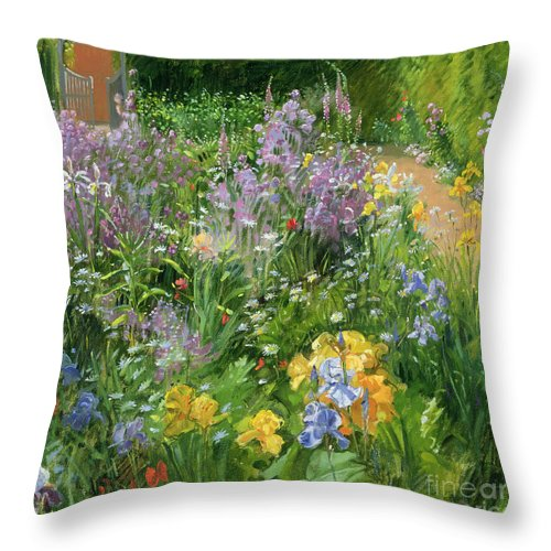 Flowers; Foxglove; Iris; Purple; Vegetable; Rucola; Garden; Flowerbed; Flower; Flowers Throw Pillow featuring the painting Sweet Rocket - Foxgloves And Irises by Timothy Easton