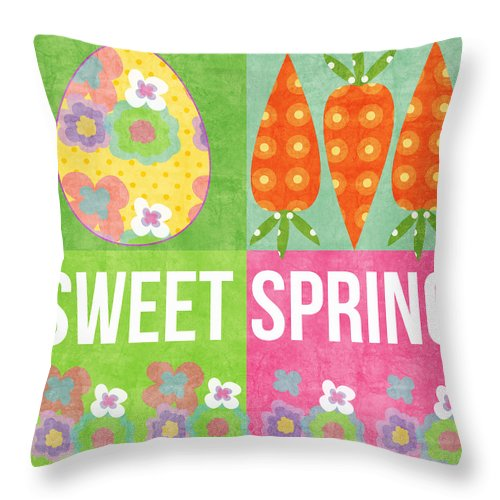 Spring Throw Pillow featuring the mixed media Sweet Spring by Linda Woods