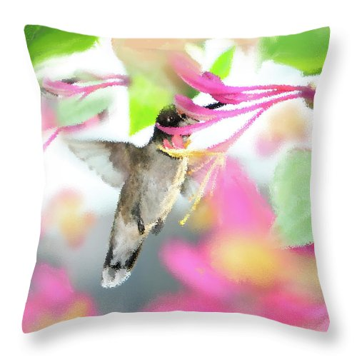 Ruby-throated Hummingbird Throw Pillow featuring the photograph Sweet Surprise by Betty LaRue