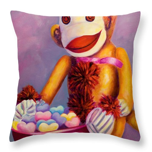 Heart Throw Pillow featuring the painting Sweetheart Made Of Sockies by Shannon Grissom