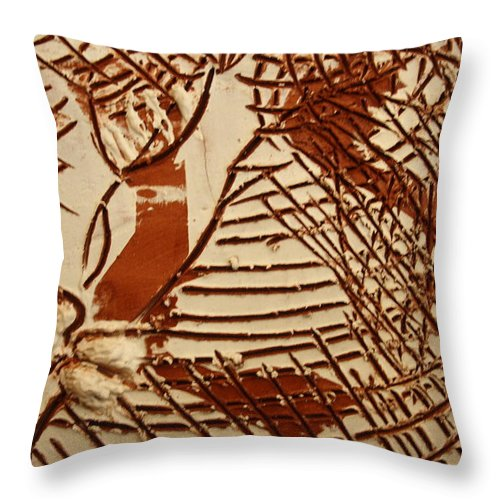 Jesus Throw Pillow featuring the ceramic art Sweethearts 11 -tile by Gloria Ssali