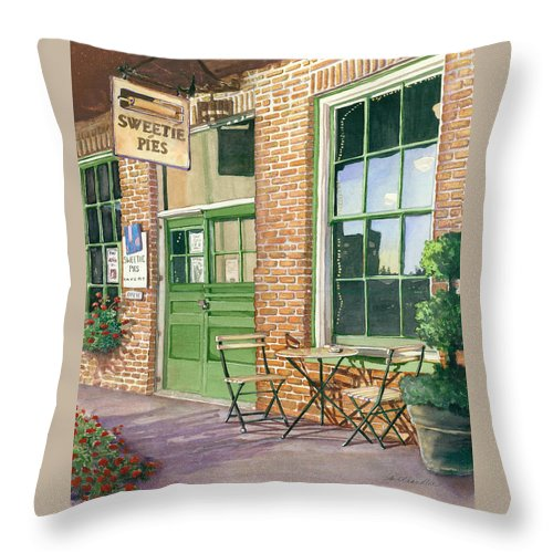 Cityscape Throw Pillow featuring the painting Sweetie Pies Bakery by Gail Chandler