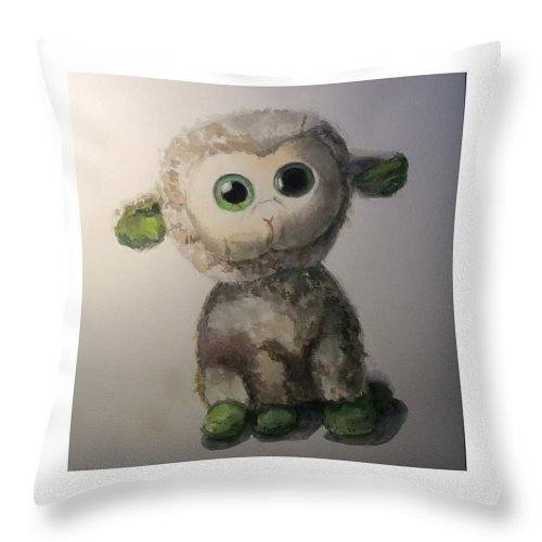 Lamb Green Toy Throw Pillow featuring the painting Sweety by Lora Ezra