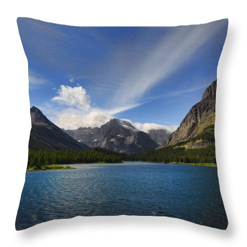 Mountains Throw Pillow featuring the photograph Swiftcurrent Lake - Glacier Np by Shari Jardina