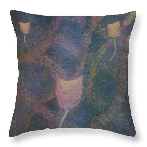 Organic Throw Pillow featuring the painting Swimming by Emily Young