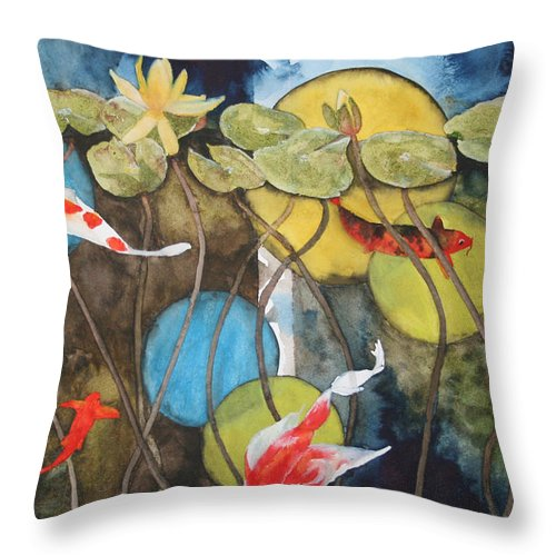 Abstract Throw Pillow featuring the painting Swimming In Circles by Jean Blackmer