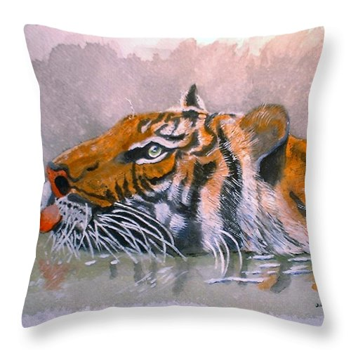 Tigers Throw Pillow featuring the painting Swimming Tiger by Arlene Wright-Correll