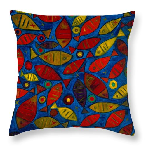 Fishes Throw Pillow featuring the painting Swimming With The Fishes by Emeka Okoro