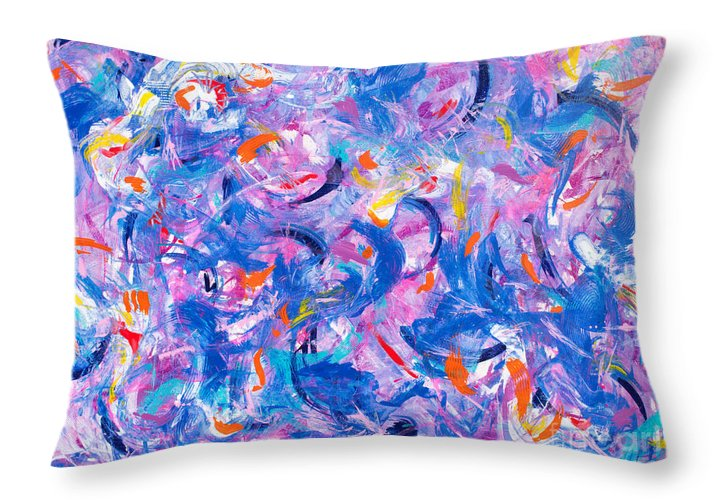 Original Artwork On Canvas Wild Playful Joyous Riot Of Abstract Shapes And Vibrant Colors .contemporary Modern Dynamic Passionate. Throw Pillow featuring the painting Swimming with the fishes by Priscilla Batzell Expressionist Art Studio Gallery