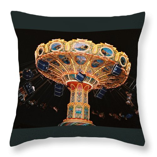 Boardwalk Throw Pillow featuring the photograph Swing by Steve Karol