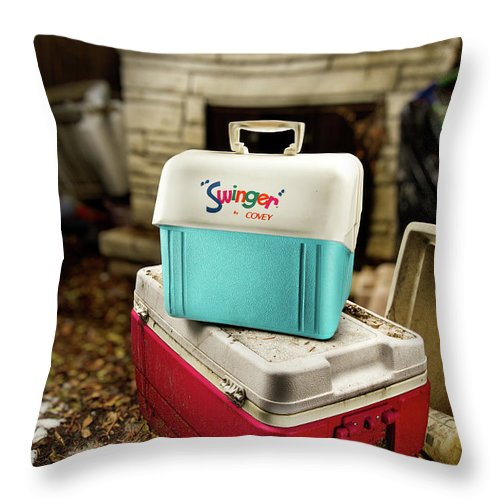 Painted Throw Pillow featuring the photograph Swinger Cooler by Yo Pedro