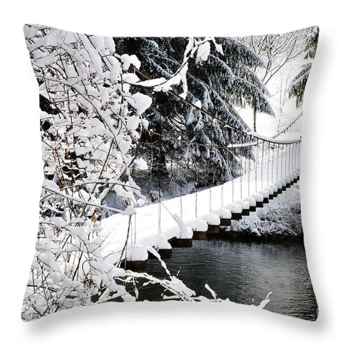 West Virginia Throw Pillow featuring the photograph Swinging Bridge Over Gauley River by Thomas R Fletcher
