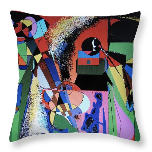 Jazz Throw Pillow featuring the digital art Swinging Trio by Ian MacDonald