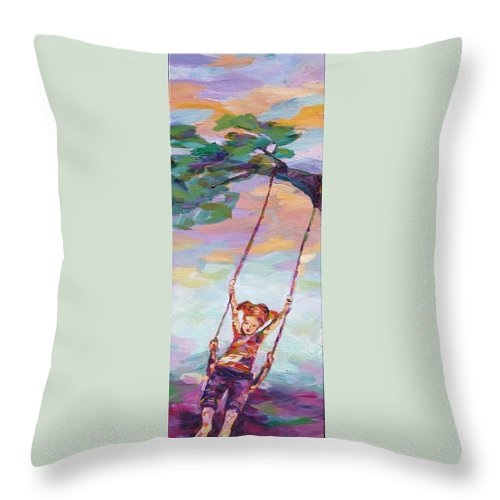 Child Swinging Throw Pillow featuring the painting Swinging With Sunset Energy by Naomi Gerrard