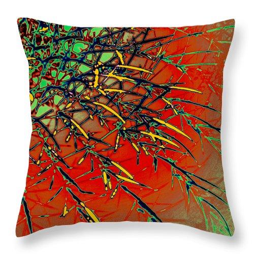 Digital Art Throw Pillow featuring the digital art Swirl Barrel Cactus by Joe Hoover