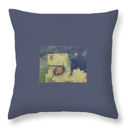 Abstract Throw Pillow featuring the painting Swirled Planet by Serina Wells