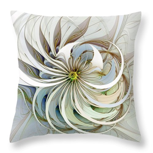 Digital Art Throw Pillow featuring the digital art Swirling Petals by Amanda Moore