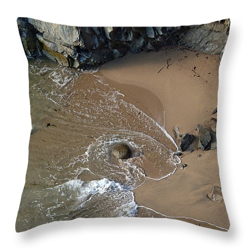 Big Sur Throw Pillow featuring the photograph Swirling Surf And Rocks by Charlene Mitchell