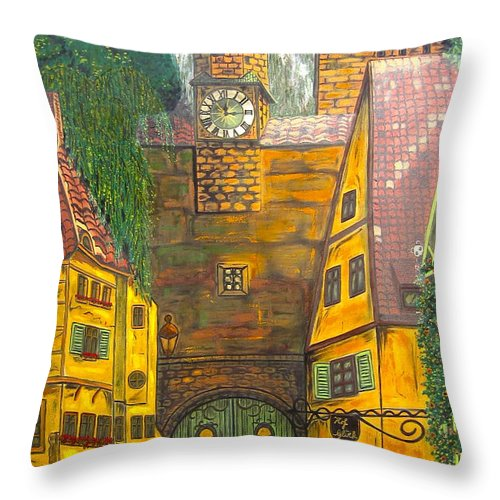 Switzerland Throw Pillow featuring the painting Swiss Birthday Party by V Boge