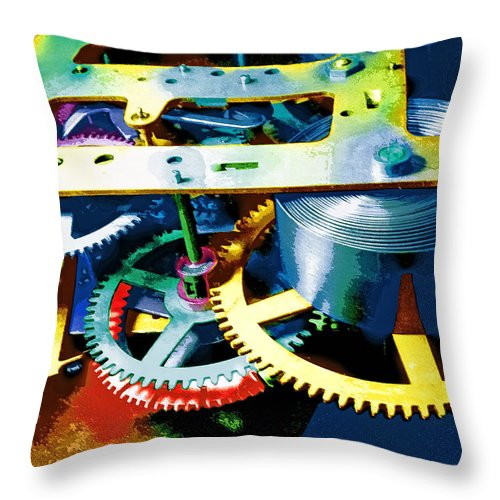 Swiss Movement Throw Pillow featuring the mixed media Swiss Movement by Dominic Piperata