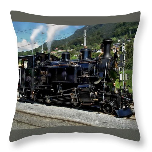 Steam Throw Pillow featuring the photograph Swiss Steam Locomotive by Anthony Dezenzio