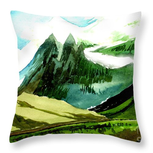 Landscape Throw Pillow featuring the painting Switzerland by Anil Nene