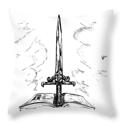Sword Throw Pillow featuring the drawing Sword Of The Spirit by Maryn Crawford