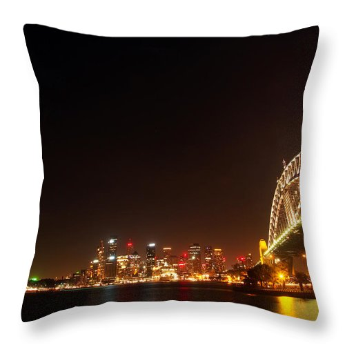 Sydney Throw Pillow featuring the photograph Sydney By Night by Kaleidoscopik Photography