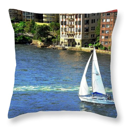 Sydney Throw Pillow featuring the photograph Sydney Harbor Dwellings by Kirsten Giving