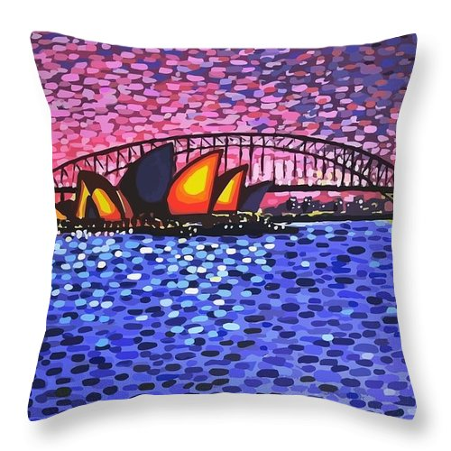Sydney Throw Pillow featuring the painting Sydney Harbour by Alan Hogan