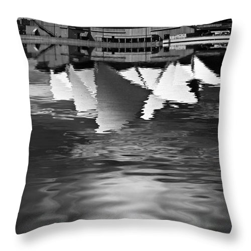 Sydney Opera House Monochrome Black And White Throw Pillow featuring the photograph Sydney Opera House Reflection In Monochrome by Sheila Smart Fine Art Photography