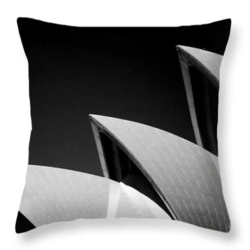 Sydney Opera House Iconic Building Black And White Monochrome Throw Pillow featuring the photograph Sydney Opera House by Sheila Smart Fine Art Photography