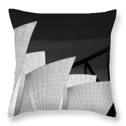 Sydney Opera House Throw Pillow featuring the photograph Sydney Opera House with bridge backdrop by Sheila Smart Fine Art Photography