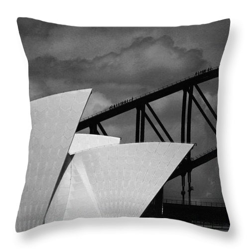 Sydney Opera House Throw Pillow featuring the photograph Sydney Opera House with Harbour Bridge by Sheila Smart Fine Art Photography